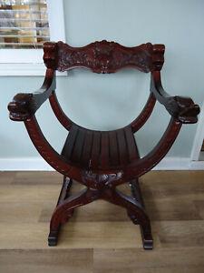 Vintage Mahogany Face Curule Throne Savonarola Chair - Beautiful, Will Ship!