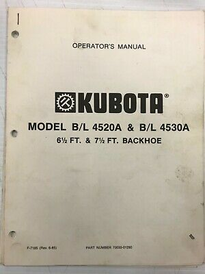 Kubota Bl 4520a Bl 4530a Backhoe Operators Manual
