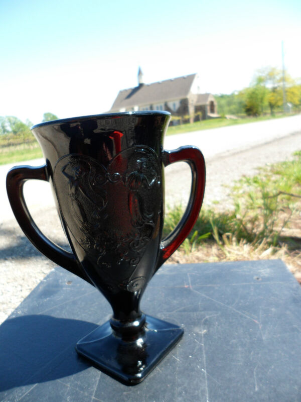 Vintage Black Amethyst Glass Grecian 2 Handled Vase Nymphs Muses Heart Trophy