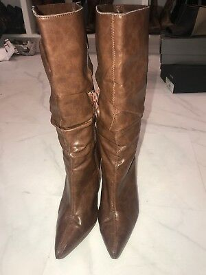 classified mid-calf slouch boots EUC 7.5 pointed toe saddle brown CUTE for sale  Denver