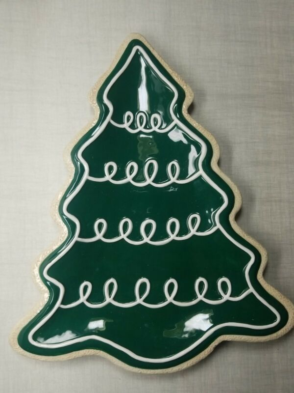 """FITZ & FLOYD Christmas Tree Shaped 12"""" Serving Tray Platter Holiday Cookie Green"""