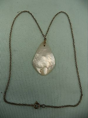 Fine Estate Gold Plate Chain With Stunning MOP Mother of Pearl Pendant Necklace Fine Gold Plate