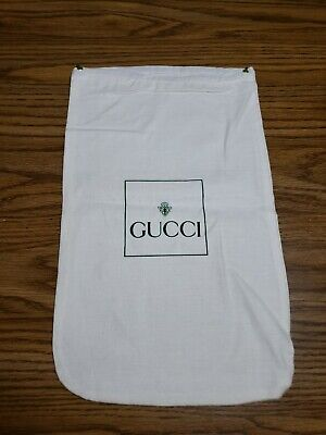 Vintage GUCCI GG Drawstring Dust Bag Pouch 14.5x9 White Green