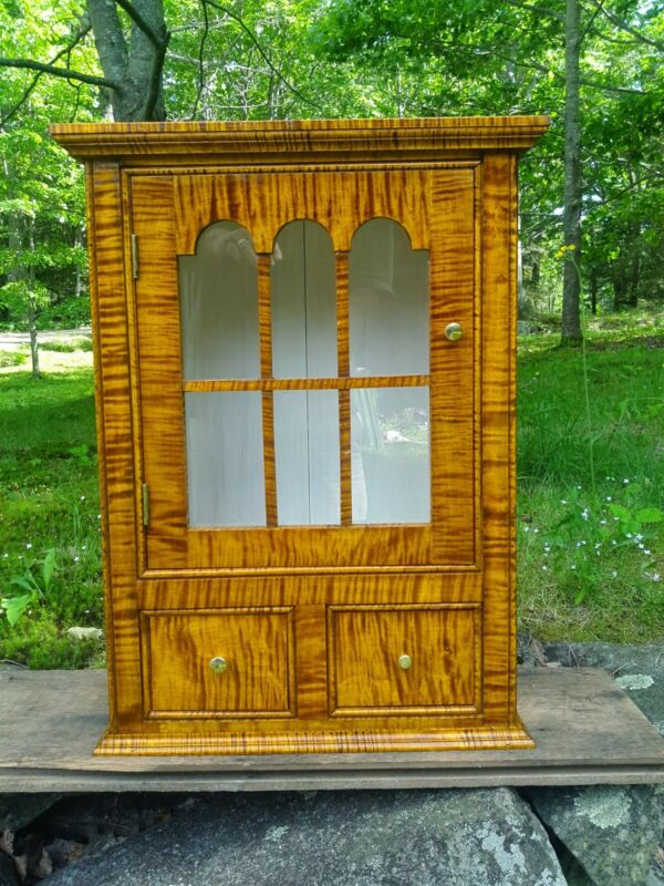 Tiger Maple Hanging Cupboard Inspired from 1665 Olde York Maine (New) Large