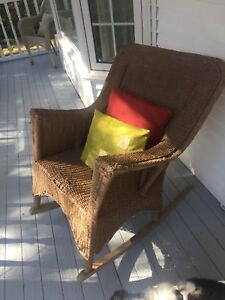 Solid wicker rocking chair