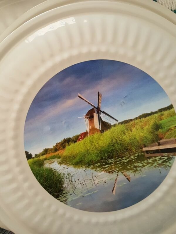 """Fulton FLUE STOP-White/Windmill Lithrograph, Enamel Covered Metal Plate 8.25""""R"""