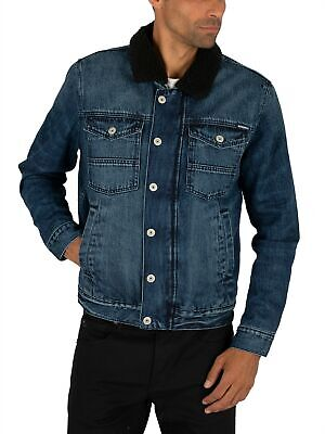 Superdry Men's Hacienda Sherpa Denim Jacket, Blue