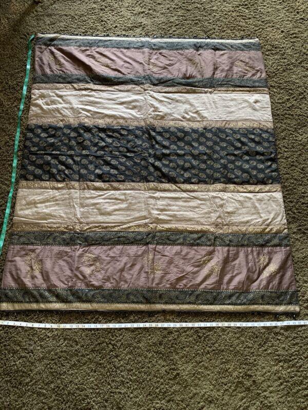 $159 Borgata Luxurious Throw Purple Black Gold Embroidery And Beaded Trim
