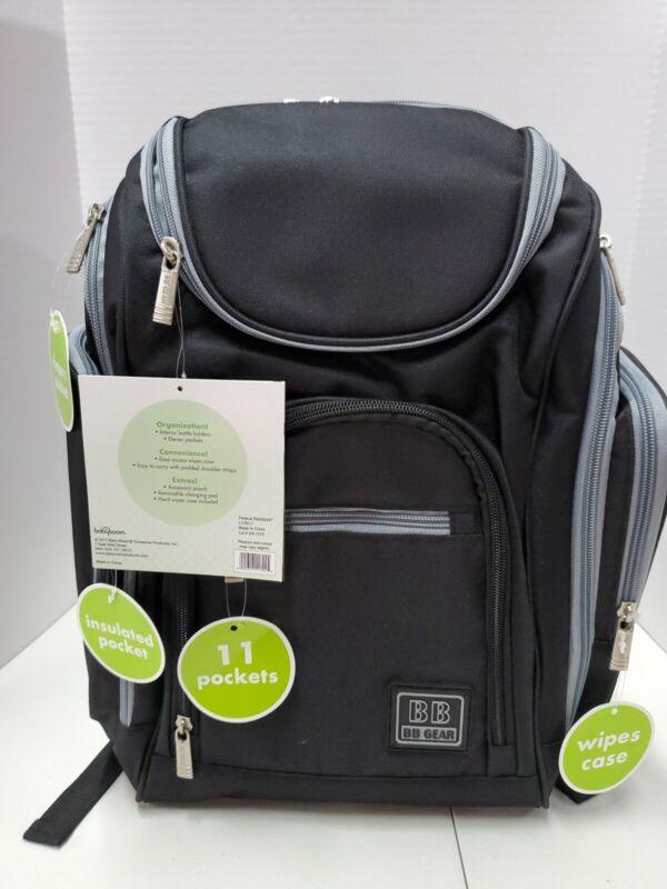 Baby Boom Quick Find Back Pack Diaper Bag, Black/Grey