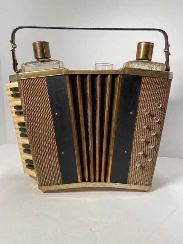 Vintage MCM Music Box Accordion Barware Set 2 Decanters and Shot Glass Japan