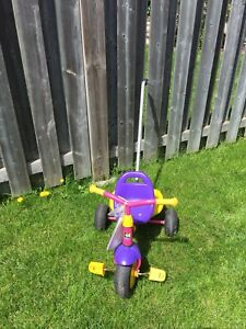 Girls Kettler Tricycle with bucket and removable handle