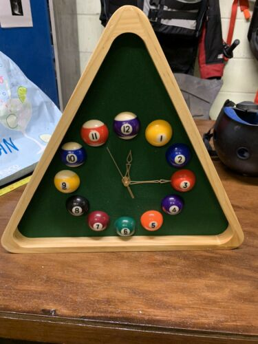 Pool Triangle Clock Man cave addition Games room ideal christmas present