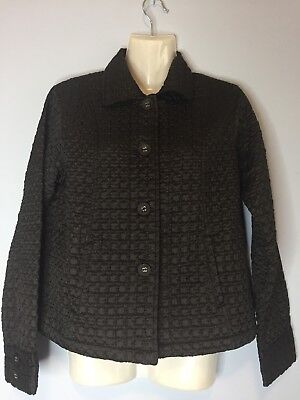 Chico's Brown Quilted Light Jacket Coat Embroidered Size 0 Small S