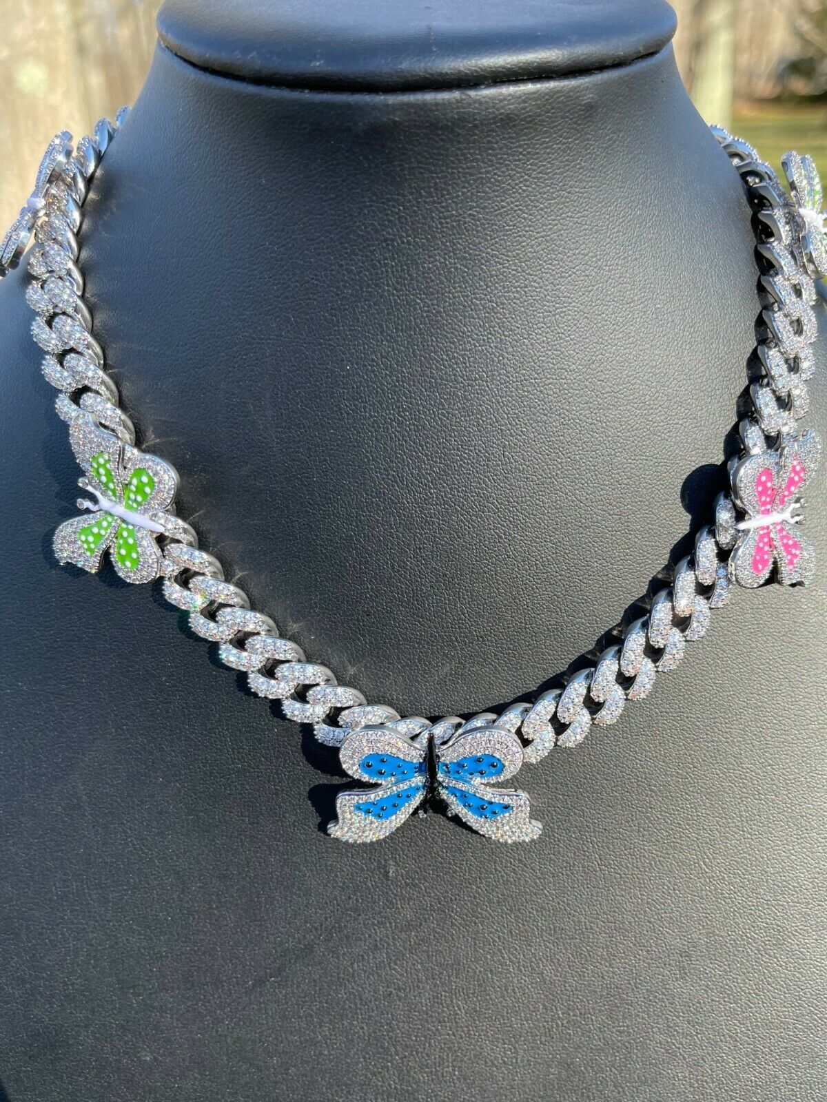 Real Hip Hop 12mm Miami Cuban Chain Choker Necklace Butterfly Iced Silver Choker 3