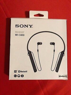 New Sony Bluetooth (Sony WI-C400/B (NEW) Wireless Bluetooth Neckband Earbuds Headphones w/Mic)