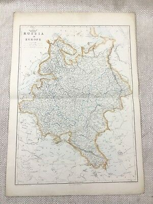 Antique Map of Russia in Europe Old Hand Coloured 19th Century Original
