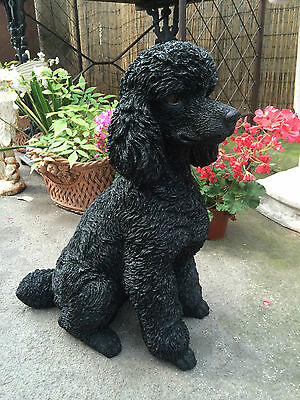 Poodle black Resin Statue life like ! Black poodle sitting