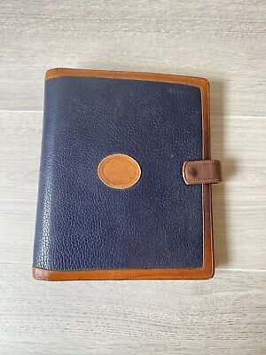 Vtg Dooney Bourke Blue Brown Leather Planner Binder Notebook 9.5x 8 7 Ring