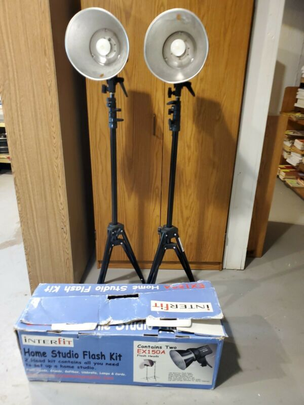 InterFit EX150 Photographic Studio Flash Lot of 2 and accessories