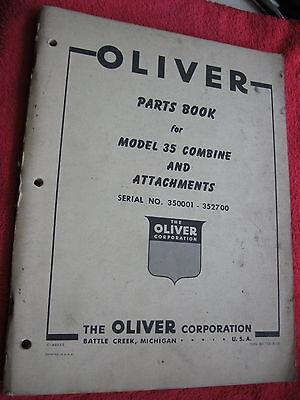 Original 1957 Oliver Model 35 Combine Attachments Parts Book Manual Catalog