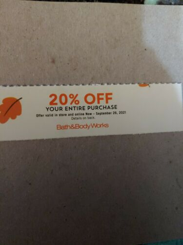 Bath Body Works Coupon 20 Off Code Today EXP 9/26//21 Unlimited Savings  - $8.55
