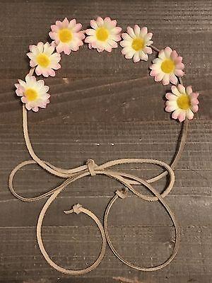 Handmade Pink Yellow Daisy Flower Halo Tie Headband Rustic Wedding Bachelorette (Flower Halo Headband)