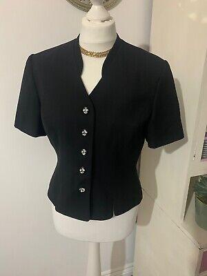 Vintage Kasper A.S.L 90's Short Sleeved, Tailored Black Jacket, Size 6