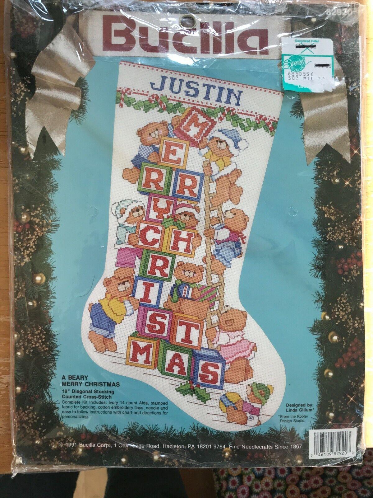Bucilla Counted Cross Stitch Stocking Kit A Beary Merry Christmas W/Bears  - $30.00