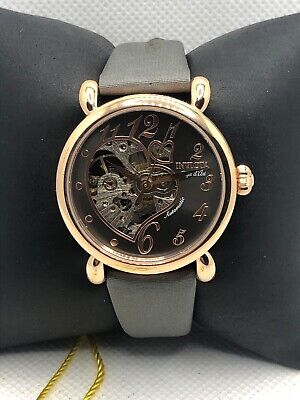 Invicta 22649 Women's Gray Leather Skeleton Dial Automatic Wrist Watch OL249