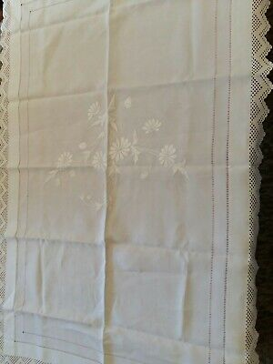 Vintage white  Linen and Lace Tablecloth. 40inch x 26 inches .