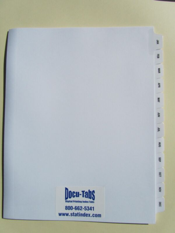 JAN-DEC Monthly Index Tab Dividers 120 SETS, $1.99 per set