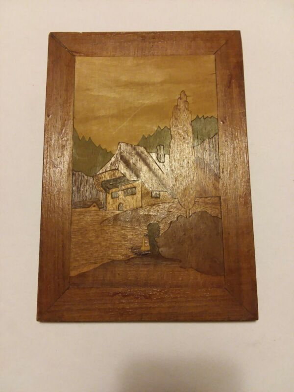 Antique Inlaid Wood Marquetry Wall Hanging Panel Plaque - Landscape Scene