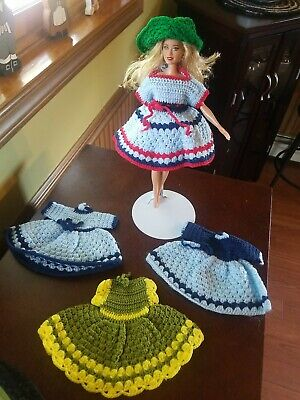 """Hand- Crocheted Doll Dresses & hat beautiful designs & colors, Barbie or 8"""" Doll"""