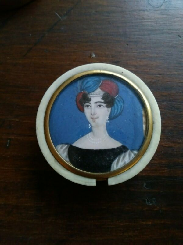 19th Century Hand Painted Snuff Box W/ Portrait Of Woman European 1800s