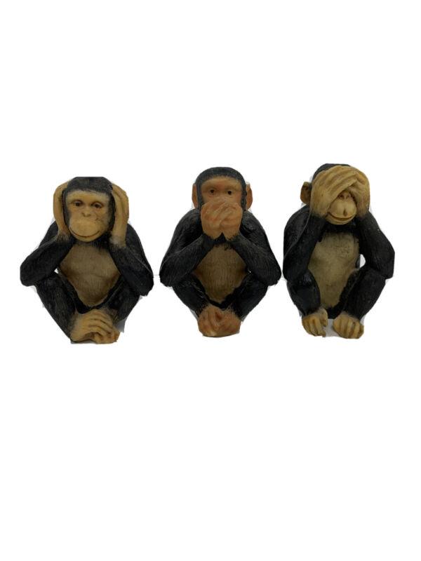 "3 Monkeys Resin Hear No Evil Speak No Evil See No Evil 4"" high"