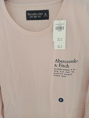 ABERCROMBIE AND FITCH LONG SLEEVE LOGO TEE PEACH COLOUR SIZE XL