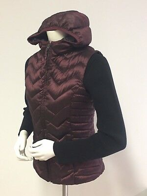 Women's SZ S 6-8 BE BLANC NOIR Puffer Hooded VEST Burgundy Down Feather Fill ](blanc noir puffer vest)