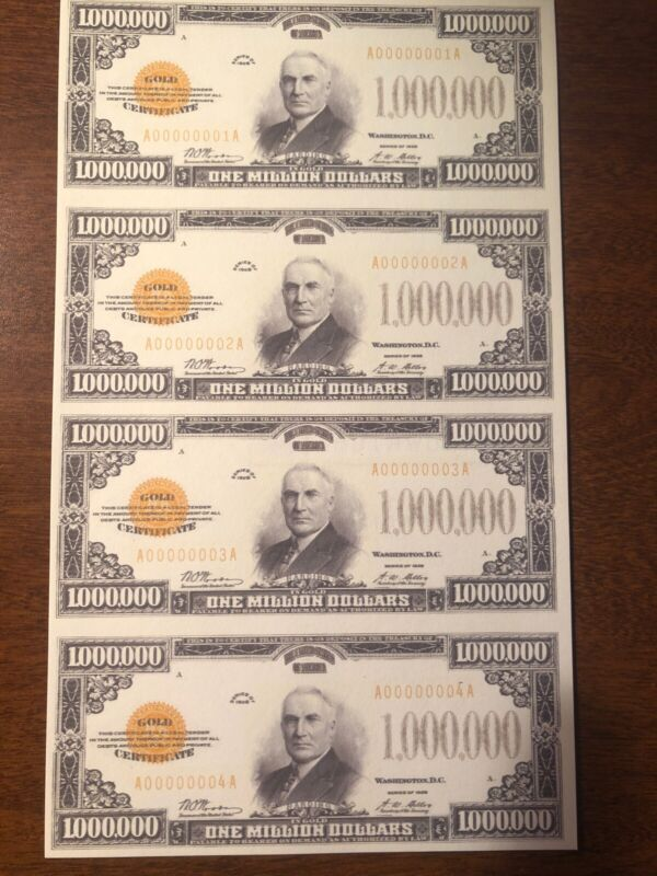 Copy 1928 Gold $1 Million Dollar Uncut Reproduction Currency Sheet Fantasy