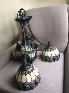 Vintage stained glass style chandelier, 4 lamp