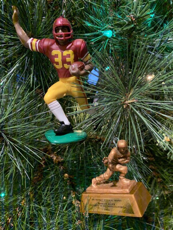 USC TROJANS CHRISTMAS ORNAMENT MARCUS ALLEN With Heisman Trophy 1981