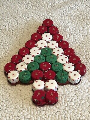 Vintage Handmade Christmas Tree Wall Hanging Made From Plastic Bottle Caps ()