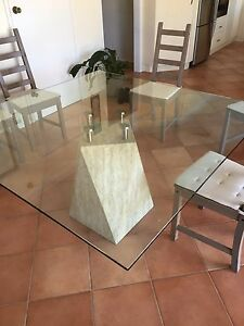Glass table on marble pedestal Taren Point Sutherland Area Preview