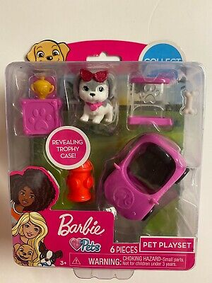 Barbie Pets - 6 Pieces Pet Playset Revealing Trophy Case NEW