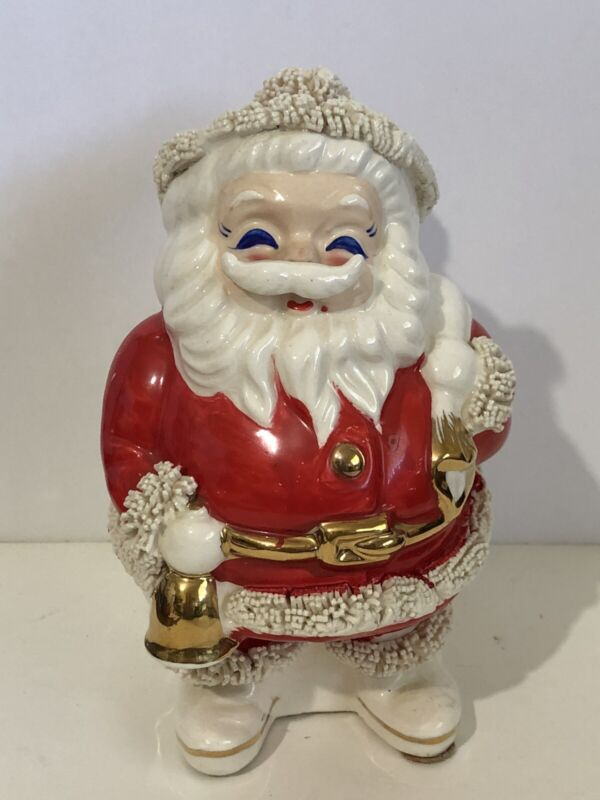 "Vintage Ceramic Santa Spaghetti & Gold Trim Christmas Coin Bank 6.5"" - Japan"