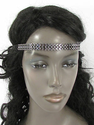 Women Elastic Boho Band Hair Fashion Head Jewelry Gunmetal Pewter Metal Chain