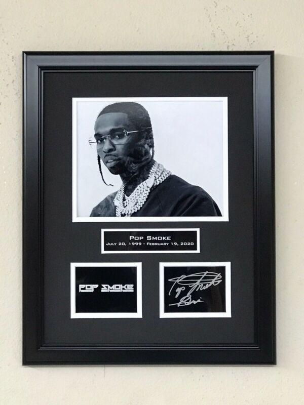 Pop Smoke Laser Facsimle Autograph Signed Custom Framed Meet The Woo 2