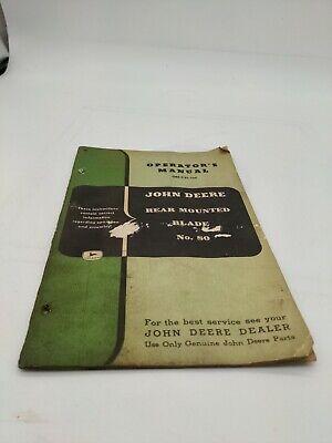 John Deere Model No. 80 Rear Mounted Blade Operators Manual