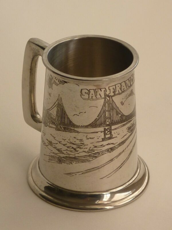 VTG Pewter Beer Stein Mug Tankard / GG Bridge San Francisco Sheffield England