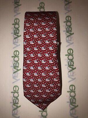 NWT Vineyard Vines Boys Christmas Holiday Tie Red Snow Santa Whale