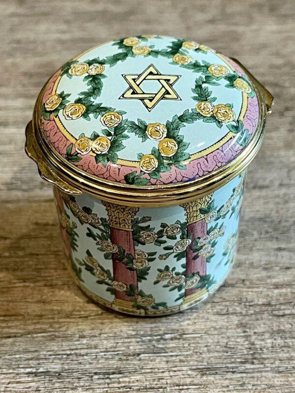 Halcyon Days Enamel Wedding Ring Box - Jewish, Floral, Star of David, Mazel Tov